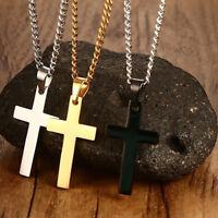 Men Women Stainless Steel Jesus Cross Pendant Necklace Jewelry Hot