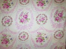ANTIQUE ROSES VINTAGE FLOWERS ROSE PINK RINGS CIRCLES COTTON FABRIC 11 IN CUT