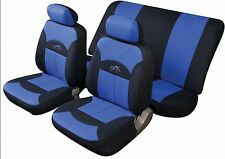 FUJI UNIVERSAL FULL SET SEAT PROTECTOR COVERS BLUE & BLACK SMOOTH PADDED FABRIC