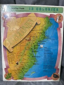 Vintage 13 Colonies Frame Tray Picture Map Puzzle USA Made Elementary History