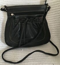FOSSIL Small Black Leather Crossbody Purse Bag Pouch-VERY NICE