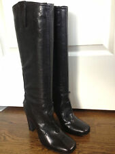 Costume National C.N.C 40.5 US 10.5 Womens Tall High Black Slip On Leather Boots