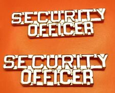 """Security Officer Collar Pin Set 1/4"""" Cut Out Letters Stacked Nickel Plated 2203"""