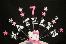 Any name and age zebra print hello kitty birthday cake topper