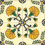 Mediterranean Greek Ceramic Tiles - Cypress - 4 X 4""