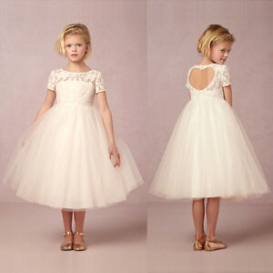 Flower Girl Lace Dress Heart Back Wedding Party Prom Formal Communion Pageant