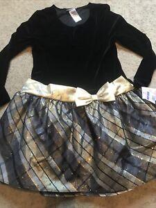 Bonnie Jean Black & Gold Plaid Sparkle Long Sleeve Dress Big Girls Sz 18-1/2 NWT