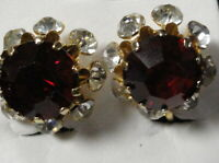 Vintage CORO Screw-Back Earrings - Clear Rhinestones Around Ruby Red Center