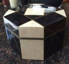 CASA BIQUE Tessellated Stone Marble Box Maitland Smith Style HOLLYWOOD REGENCY