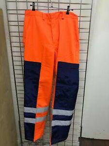 Hi Vis Orange Navy Ballistic Leg Side Protection Safety Trousers