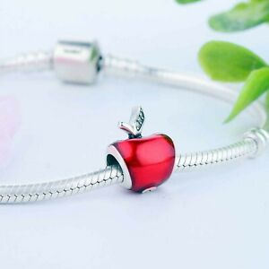 Pandora  red apple diy bead 925 Sterling Silver Plated Fashion Jewelry Unisex
