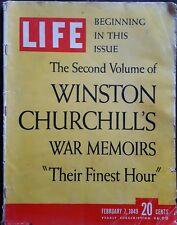 "Life Magazine ""The Second Vol of Winston Churchill's War Memoirs "" Feb 7, 1949"