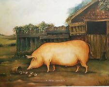 Naive Tamworth Pig Vintage Antique Collectable Print Antique Type Picture Rare