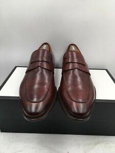 Magnanni Men's Penny Loafer Brown Leather Slip On Dress Shoes 12438 Size 9.5 US