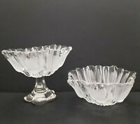 Set 2 Vintage Mikasa Crystal Frosted Tulips Clear Glass Bowl/Compote Germany