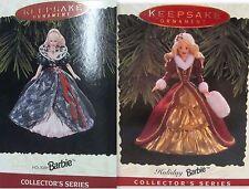 Two Hallmark Keepsake '95 +'96 Holiday Barbie Ornament Collectors Series New/Box