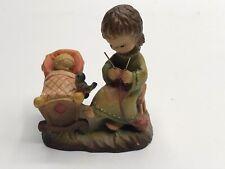 "Anri Ferrandiz 3� Figure ""Rock A Bye� Baby Crib Mother Knitting"