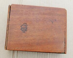 Vintage Distressed Wooden Box.Trinket Stash.Logo on Front & Inside,Claro on Back