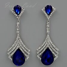 Rhodium Plated Blue Crystal Rhinestone Chandelier Drop Dangle Earrings 8732 Prom