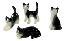 Miniature Porcelain Hand Painted Set/4 Blk & White Cats (Very Tiny)
