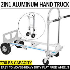 Convertible Heavy Duty Hand Truck 3 In 1 Dolly Aluminum 4 Wheel Cart 770 Lbs