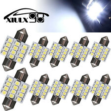 "10X 7000K Cool White 31MM 12SMD 1.22"" Festoon Led Interior License Dome Lights"
