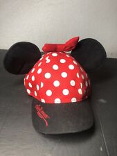 Disney Theme Park Minnie Mouse Ear Polka Dot Bow Baseball Cap/Hat Adult Adj NICE