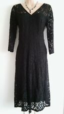 NEW GEORGE LADIES V-NECKLINE BLACK HEAVY LACED PANELLED SKATER DRESS UK 8