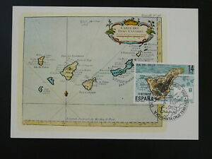 geography map of Canarias Islands 18th century maximum card Spain 1982