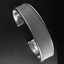 Solid 925 Sterling Silver Bangle/Cuff-110-Multi Thin Rope Rounded- High Polish
