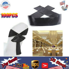 100Pcs Chair Sash Bow Stretch Wedding Party Cover Band Sashes Banquet Décor Us