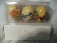 3 Gorgeous Vintage Made in The Republic of China Hand Painted Eggs - Nib #0722