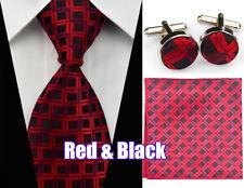 Mens Silk Tie Set Matching Cufflinks Hanky Handkerchief Wedding Business Necktie