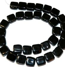 "CPC148 Black 13mm - 15mm Flat Square Porcelain Beads 15"""