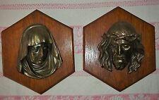 2 murale Maria e Gesù relief-messing aus lastra di legno
