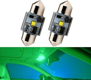 LED Light Canbus Error Free DE3021 3W Green Two Bulb Interior Dome Upgrade Lamp