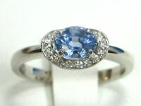 Blue Sapphire Ring 18K White Gold Pave Halo VS Heirloom GIA Appraised $4,094