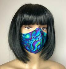 "** HOMEMADE ** Cotton Face Mask "" PAUA SHELL "" Washable With Nose Wire 2 Layer"