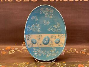 "Temp-tations Floral LaceBlue Aqua Teal 8"" Egg ShapedPlate EUC Easter"