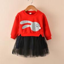 Kid Baby Girl Cartoon Bunny Winter Sweatshirt Princess Tulle Dress Gifts CA