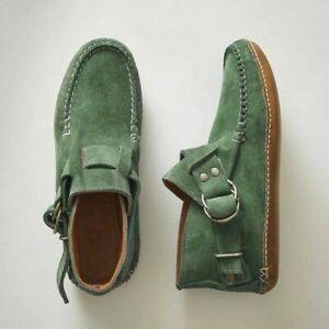 Women Flat Heel Ankle Boots Platform Leopard Buckle Casual Retro Shoes Size US12