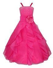 Vestido Flor de Princesa de Boda Fiesta de Bautizo de Tiras con Lazo para Niña