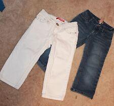LOT OF 2 * Girls Size 8 DENIM/JEAN CAPRI PANTS (blue & white) near perfect