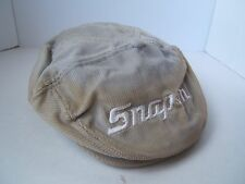 Vintage Snap On Flat Cap Broken Bill Discolored Gray Snapback Corduroy Hat