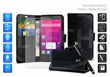 For Nokia 5.1 Plus / TA-1108 - Carbon Fibre Card Slot Phone Case, Glass & Pen
