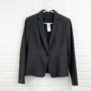 ANN TAYLOR sz 2 Blazer charcoal gray single button lined long sleeve career NWT