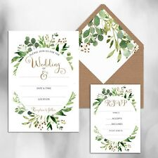 PACK OF 10 x BLANK GREEN FLORAL WREATH WEDDING INVITATIONS