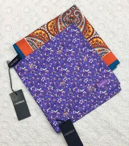 "CREMIEUX Floral Print Silk Pocket Squares 16 x 16"" New Handkerchiefs Set Of 2"