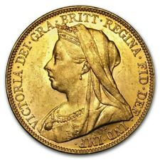 1893-1901-M Australia Gold Sovereign Victoria Veil Head Coin 0.2354 oz