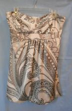 Supre Strapless Satin Feel Dress - Silver/Grey/Black Print - Above Knee Sz L New